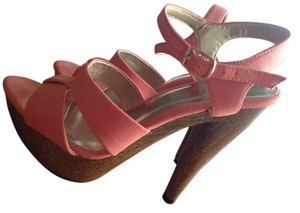 Qupid Coral Platform Wooden Spring Peach Sandals