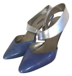 Nickels Blue with silver ankle strap Mules