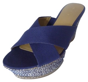 Nine West Wedge Sandal Navy Blue Wedges