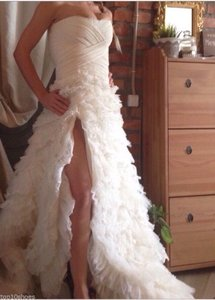 Custom Made Bridal White Silk Organza Lace Wedding Open Shoulders Dress Gown S Wedding Dress