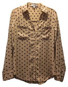 Express Button Down Shirt Blush/Black Polka Dot