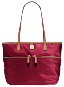 Michael Kors Lightweight Nylon Pocket Logo Charms Tote in Red