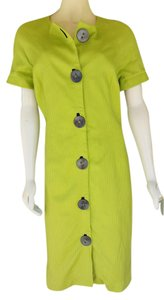 Bigio Lime Button Front Cotton Dress