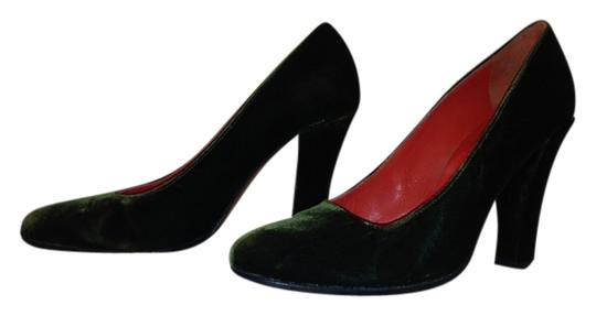 Robert Clergerie Velvet Almond Toe Classic Lady Evening Deep Forest Green Pumps