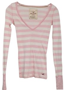 Hollister T Shirt Pink- pink and white striped