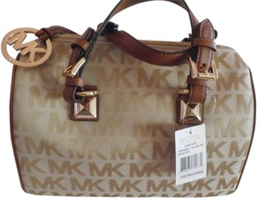 Michael Kors Leather Monogram Limited Edition Satchel in BROWN