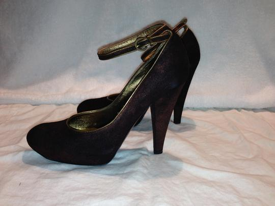Casadei Bronze Suede Gold Trim Gold Hardware Hidden Platform Ankle Strap Luxury brown metallic Pumps