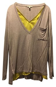 Anthropologie T Shirt Taupe/Chartreuse