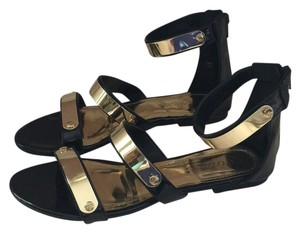 ShoeDazzle Black and Gold Sandals
