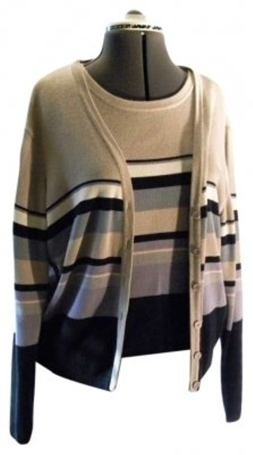 Preload https://item5.tradesy.com/images/biege-multi-striped-bridgetown-collection-two-piece-set-sweaterpullover-size-14-l-138954-0-0.jpg?width=400&height=650