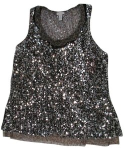 Chico's Scallop Sequin Tank Top Silver