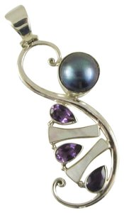 Island Silversmith Island Silversmith .925 Sterling Silver Pearl and Amethyst Pendant 0401P *FREE SHIPPING*
