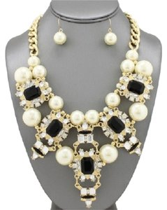 Black Shourouk Style Statement Pearl Necklace and Earrings