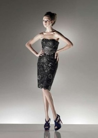Enzoani Shimmer Grey/Black Lace Over Silky Taffeta C43 Formal Bridesmaid/Mob Dress Size 10 (M)