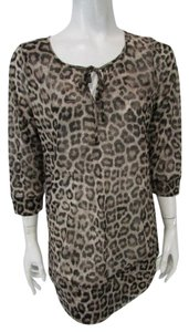 Chico's Animal Print Sheer Top Brown