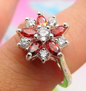 Silver White Topaz Garnet Fashion Ring Free Shipping