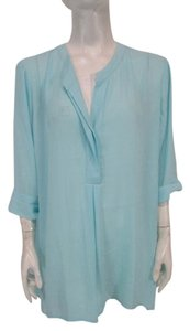 Chico's Hi-lo Half Button Down Top Blue