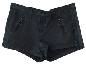 Rag & Bone Leather Zippered Shorts navy