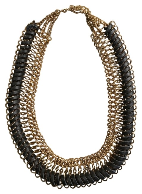 Item - Black/Gold Faux Leather Necklace