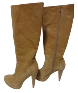 Charles David Suede Leather Knee High Beige Camel Boots