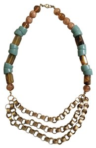 Anthropologie Beaded Metal Necklace