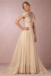 BHLDN Gold Cotton Lace Kensington Gown Willowby By Watters Feminine Wedding Dress Size 4 (S)