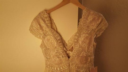 BHLDN Gold Cotton Lace Kensington Gown Willowby By Watters Feminine Wedding Dress Size 4 (S) Image 10