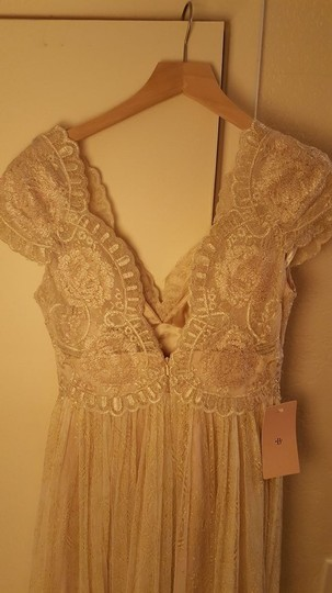 BHLDN Gold Cotton Lace Kensington Gown Willowby By Watters Feminine Wedding Dress Size 4 (S) Image 11