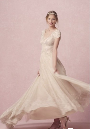 BHLDN Gold Cotton Lace Kensington Gown Willowby By Watters Feminine Wedding Dress Size 4 (S) Image 3