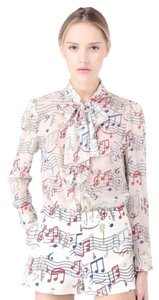 RED Valentino Couture Designer Silk Top Ivory
