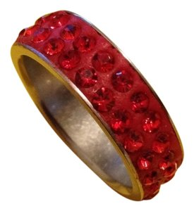 Handmade Red Crystals Titanium Ring