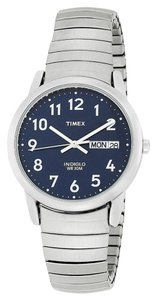 Timex Timex T20031 Men's Silver Analog Watch With Blue Dial