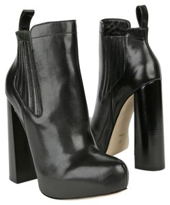 Alexander Wang Platform Ankle Leather Chunky Heel Black Boots
