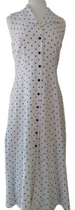 White with Black Polkadots Maxi Dress by Dress Barn Rayon/polyester Hand Washable Button Front