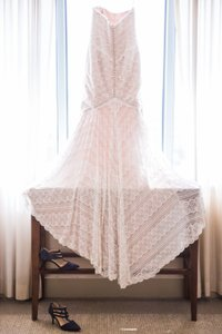 Wtoo Off White/ Rose Gold Lace and Satin Pippin Modern Wedding Dress Size 8 (M)