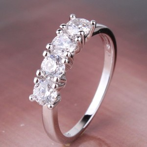 Bogo Free Your Choice 4 Stone White Topaz Wedding Band Free Shipping