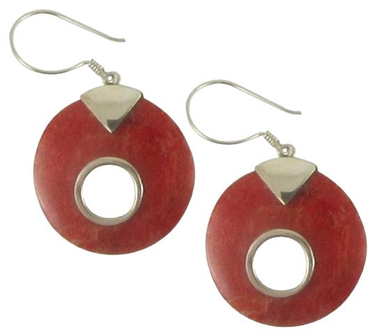 Island Silversmith Island Silversmith Carved Coral 925 Silver Sterling Button Earrings 0401X *FREE SHIPPING*