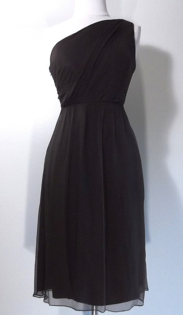 Item - Brown Silk Crinkle Chiffon G551c Casual Bridesmaid/Mob Dress Size 4 (S)