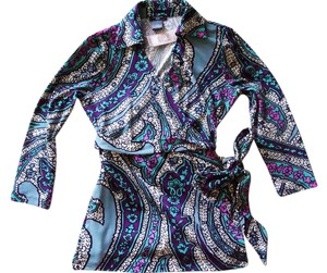Ann Taylor Stretchy Wrap Print Top Multi-Color