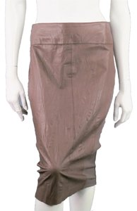 Barneys New York Stretch Leather Skirt Taupe