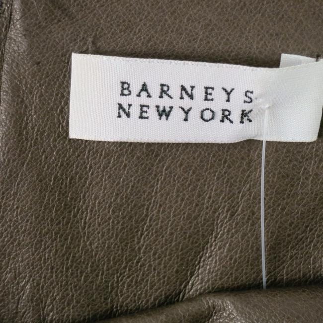 Barneys New York Stretch Leather Exposedzipper Kneelength Skirt Taupe