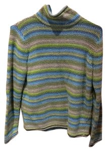 Liz Claiborne Multi-colored Crochet Look Grey Long Sleeve Layered Colors Sweater