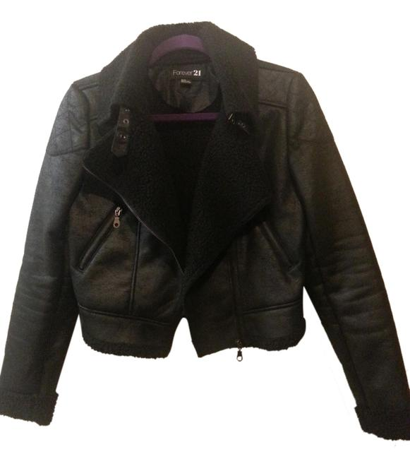 Item - Black Faux Leather Shearling Moto By Jacket Size 8 (M)