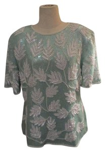 RINA Z Faux Pearl Beading Clear Seqins Silk Vintage Zippered Back Top MINT GREEN