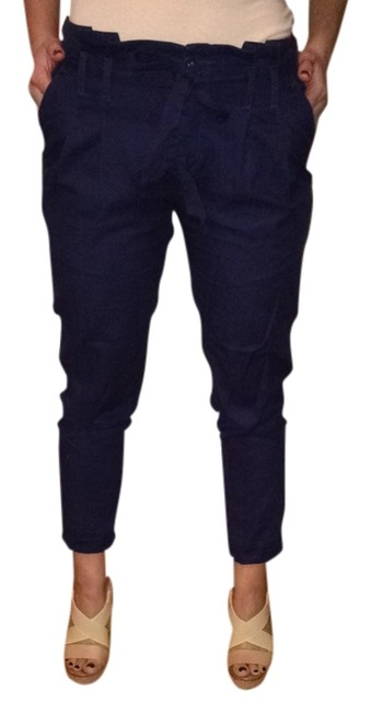 Cooperative Drawstring Boyfriend High Waisted Tie Drawstring Cotton Urban Outfitters Pockets Ruffle Trouser Pants Navy