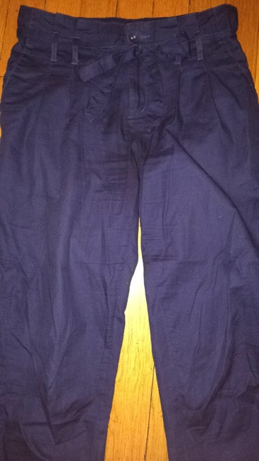 Cooperative Drawstring Boyfriend High Waisted Tie Drawstring Urban Outfitters Pockets Ruffle Trouser Pants Navy