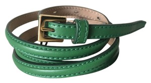 Burberry Prorsum BURBERRY Smooth Skinny Green Leather Gold Buckle Belt