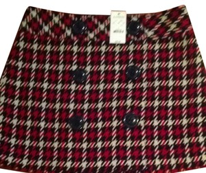 Express Mini Plaid Red Skirt Red, Black, White
