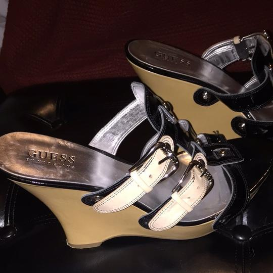 Guess By Marciano Tan And Black With Silver Buckle Wedges