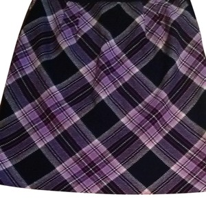 Ann Taylor LOFT Purple Pink Plaid Skirt Black, Hot Pink, Purple, Pink, White